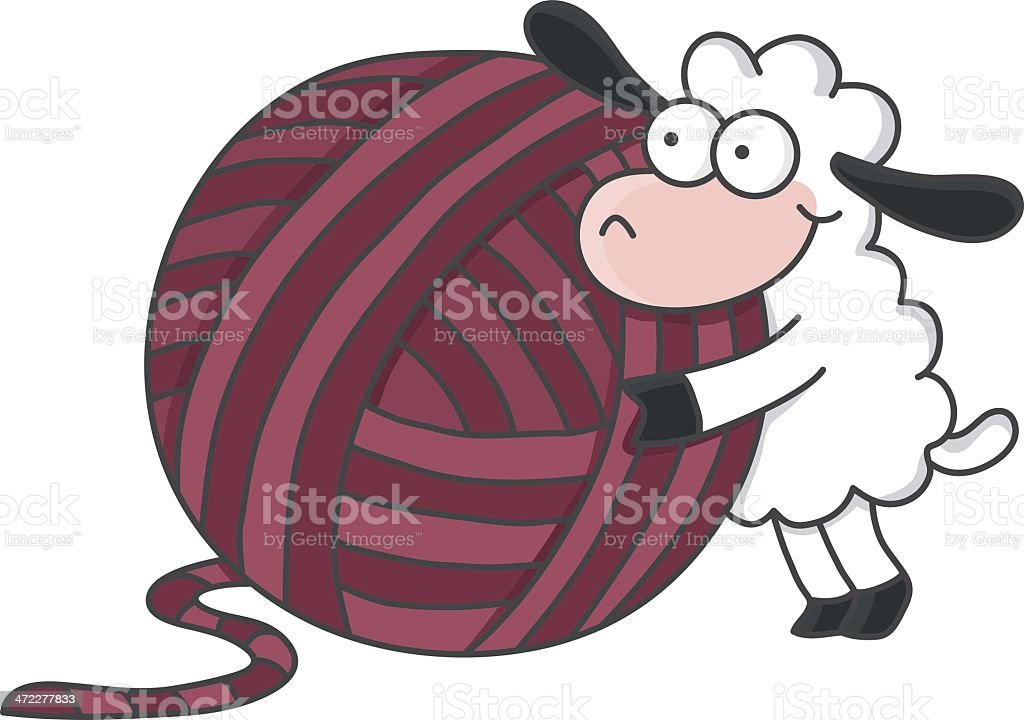 sheep with a ball of wool vector art illustration