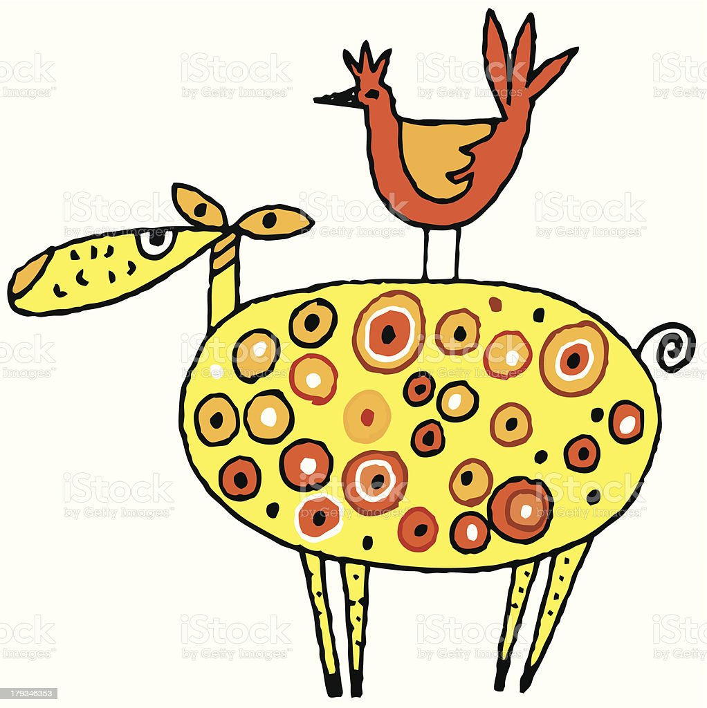 Sheep with a Chicken royalty-free stock vector art