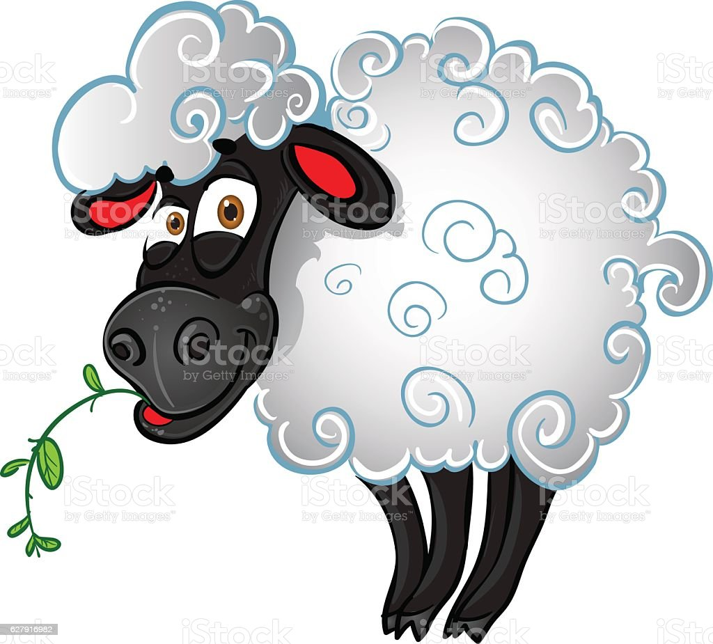 Sheep with blade of grass vector art illustration