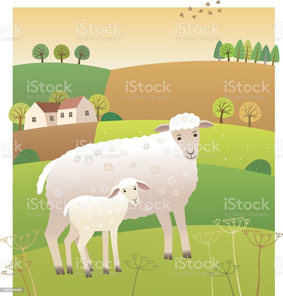 Sheep with lamb vector art illustration