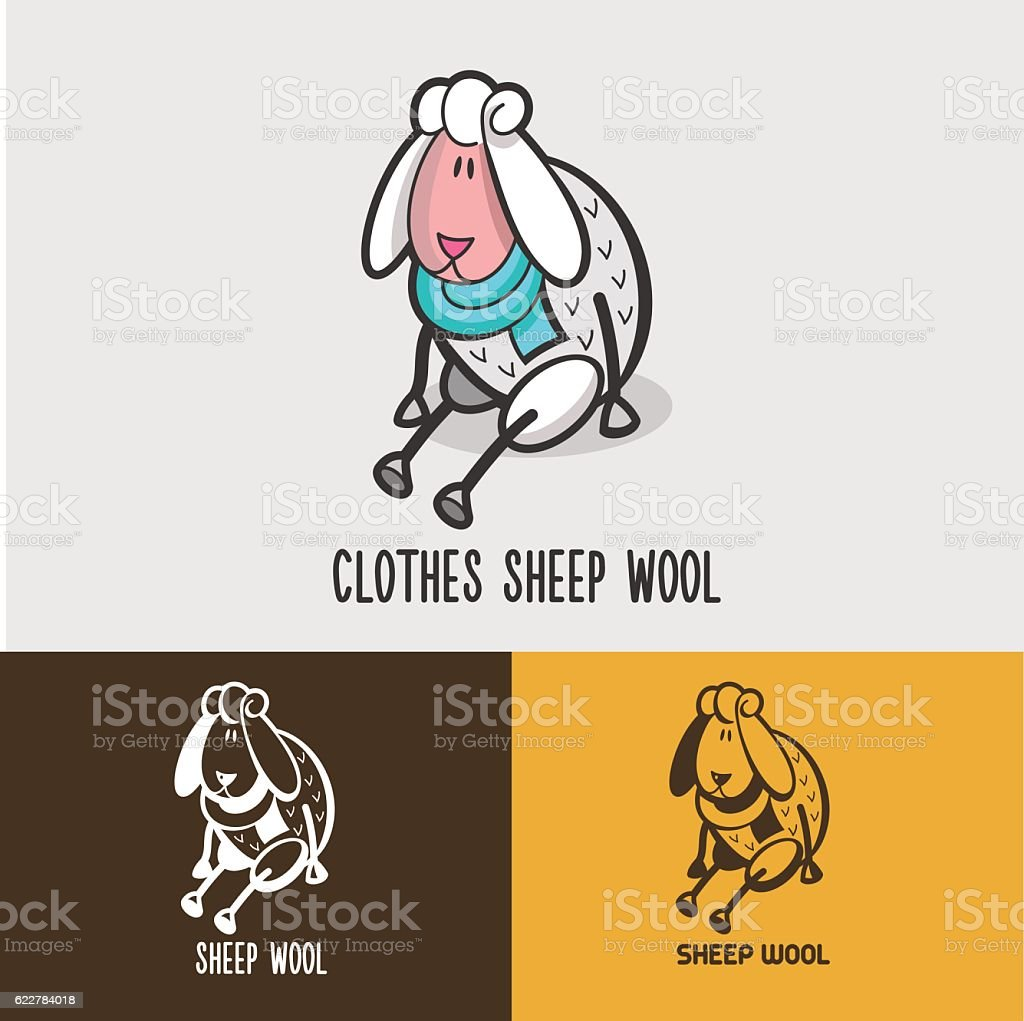 Sheep, wool. Signs and emblems for 100% natural products. vector art illustration