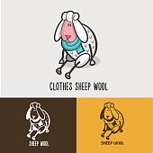 Sheep, wool. Signs and emblems for 100% natural products.
