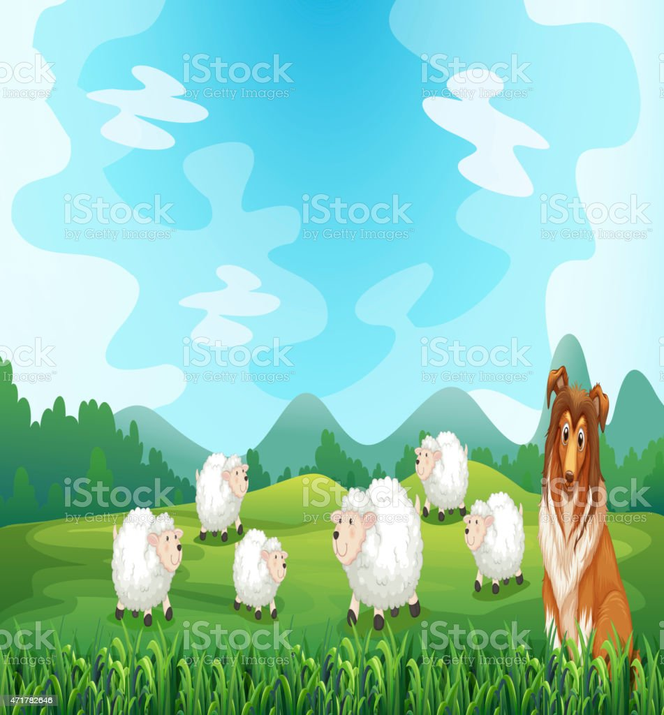 Sheeps and hound vector art illustration