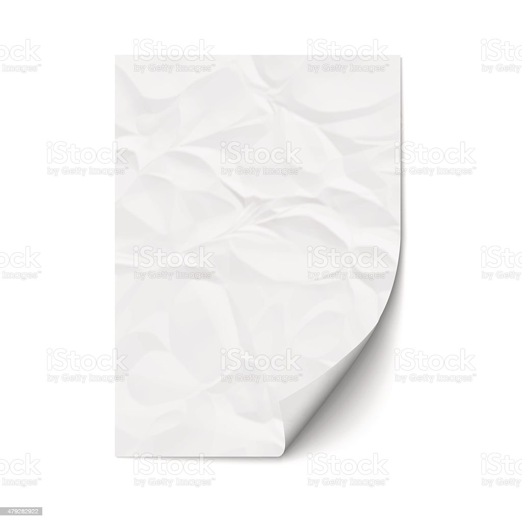 Sheet crumpled paper vector art illustration