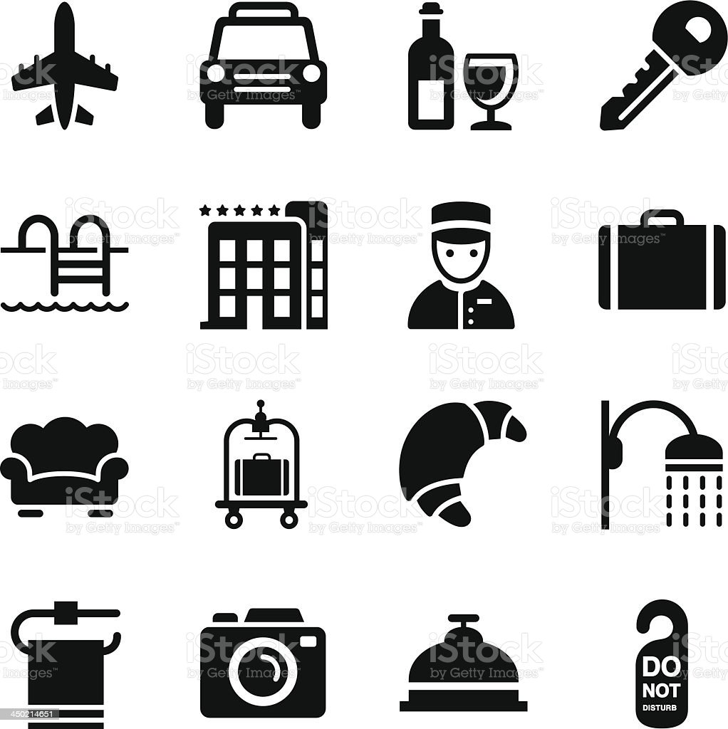 A sheet filled with several computer generated hotel icons vector art illustration