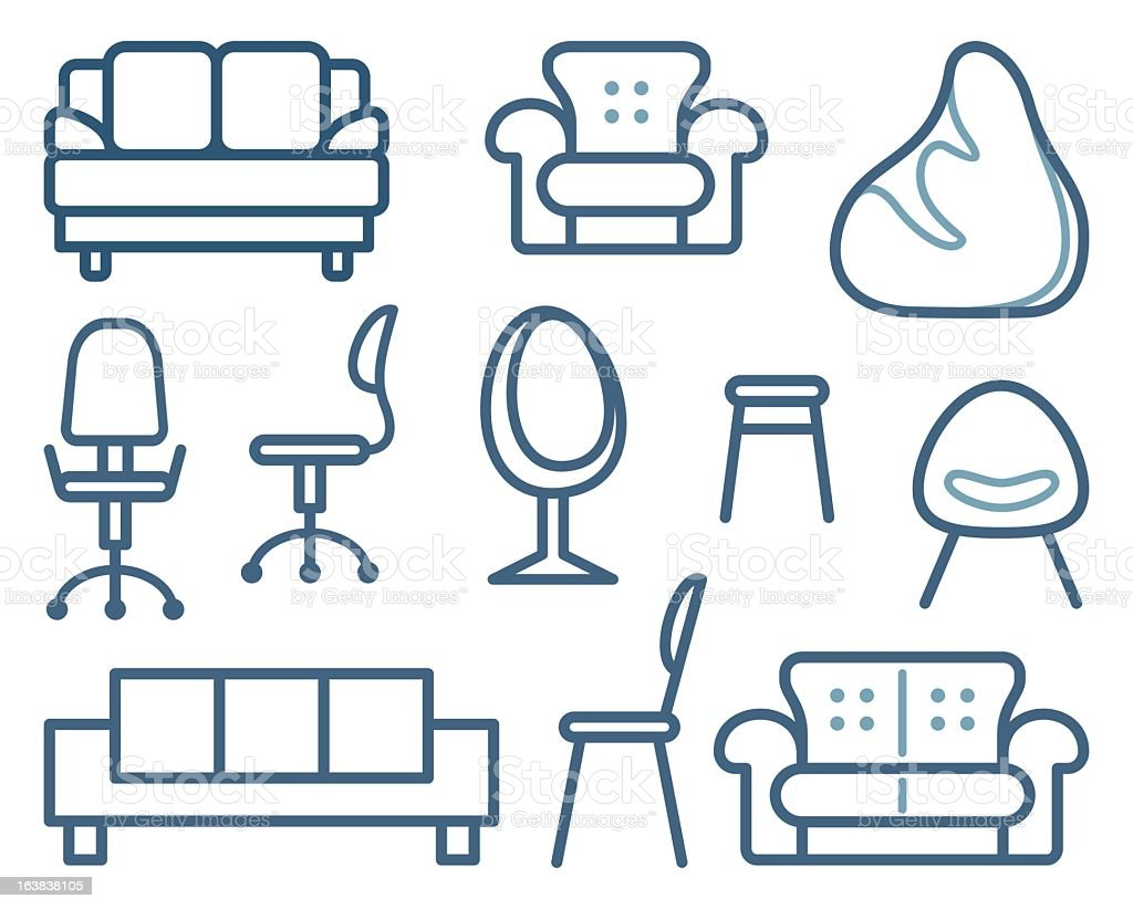 Sheet of different furniture for sitting vector art illustration
