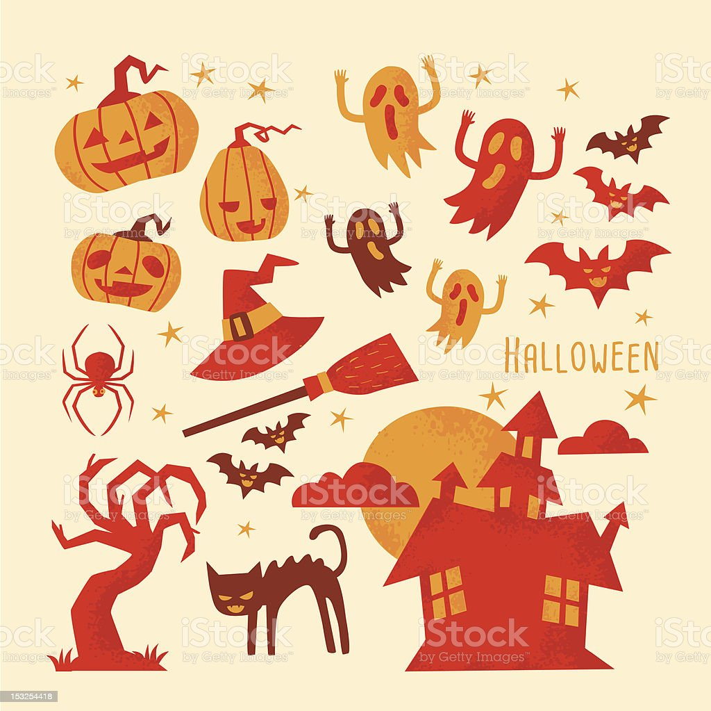 A sheet of Halloween images depicting ghosts pumpkins cats royalty-free stock vector art