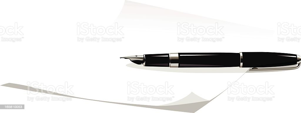 sheet of paper and fountain pen royalty-free stock vector art