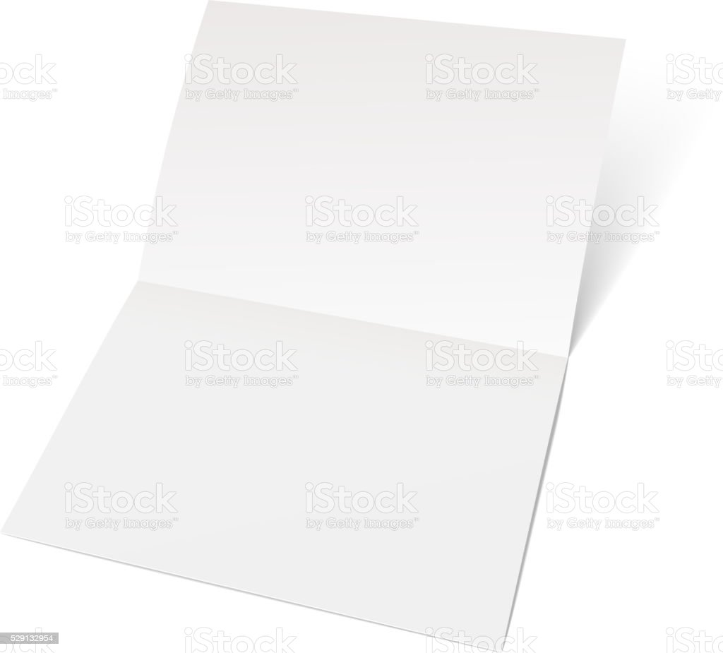Sheet of paper folded in half. vector art illustration