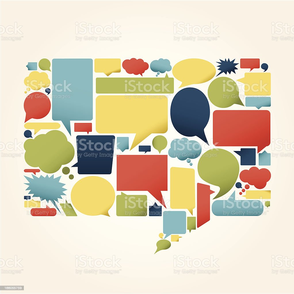 Sheet of various shaped and multicolored speech bubbles royalty-free stock vector art