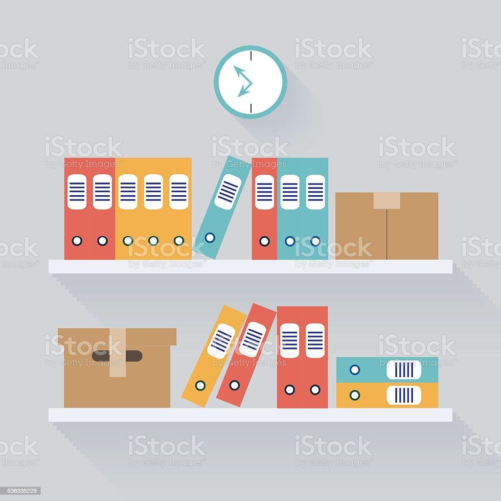 Shelf Archive Storage Background, Flat Trendy Vector Illustration vector art illustration