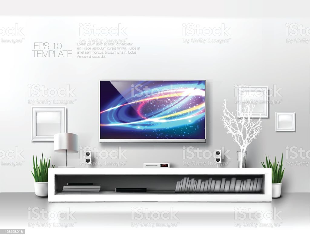 TV shelf in livingroom vector art illustration