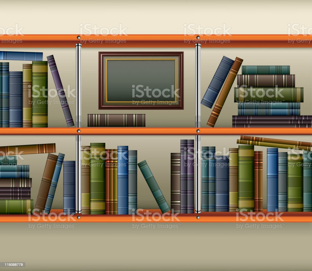 Shelf with books and frame vector art illustration