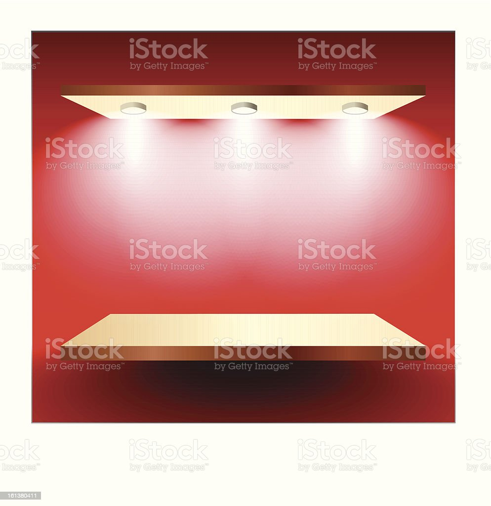 Shelf with lights on red wall royalty-free stock vector art