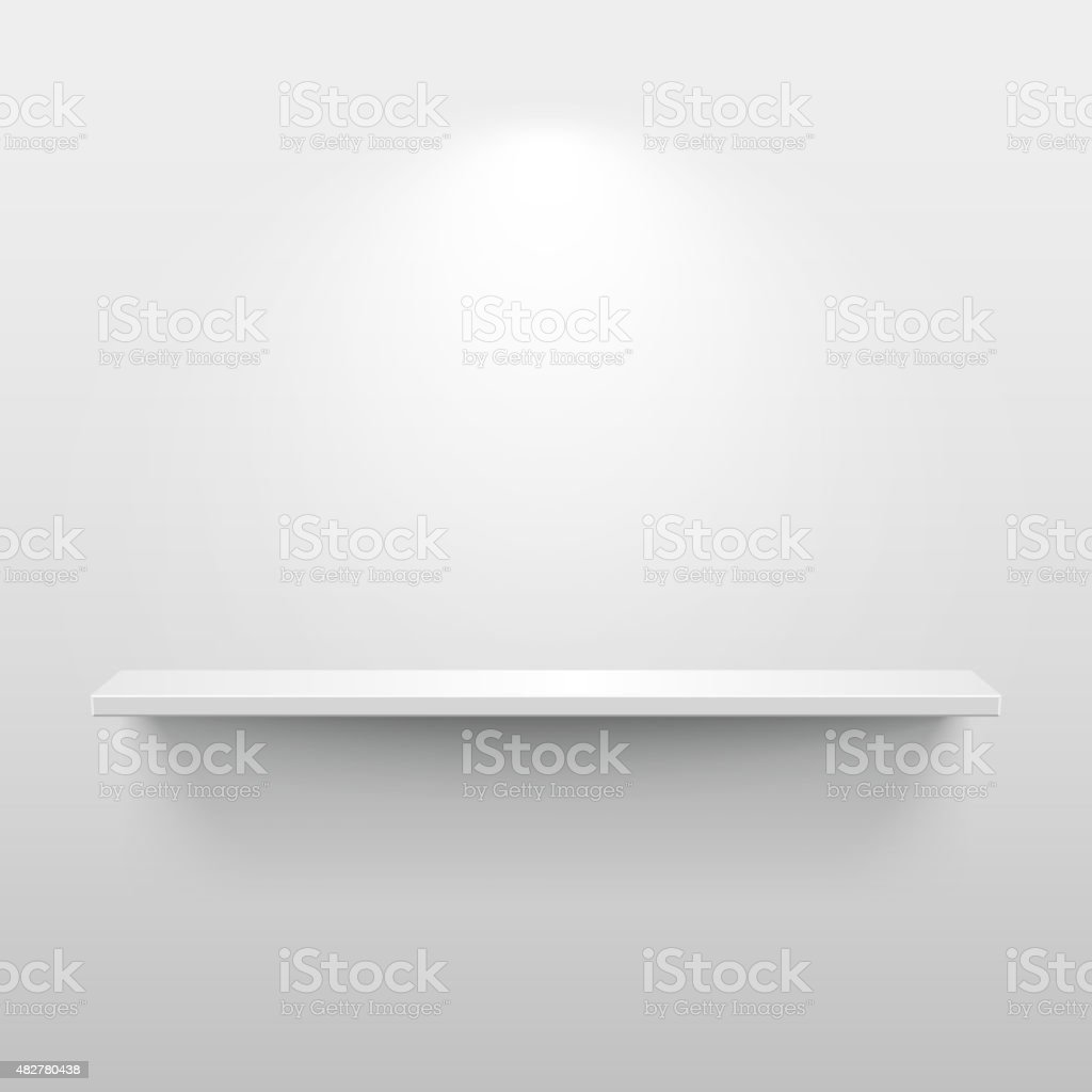 Shelf with shadow in empty white room vector art illustration