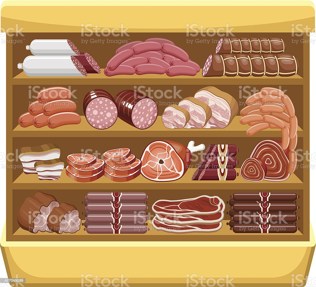 Shelfs with meat products. Meat market. royalty-free stock vector art
