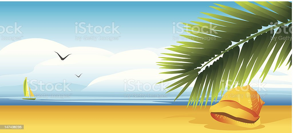 Shell and palm branch on the background of landscape royalty-free stock vector art