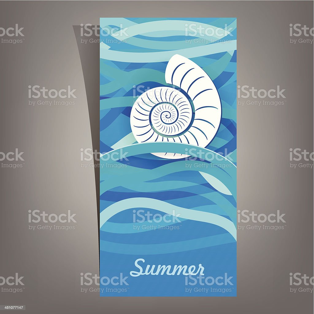 Shell on the waves. royalty-free stock vector art
