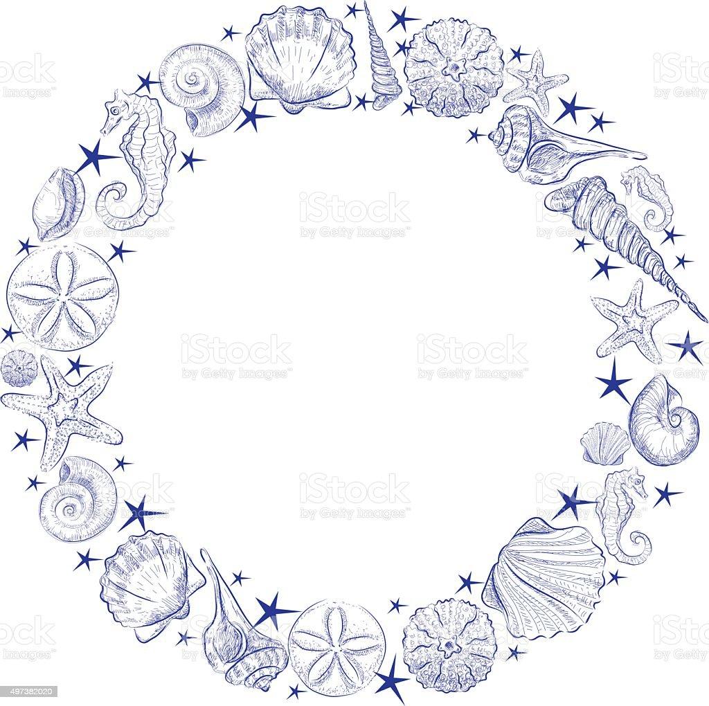 Shell wreath vector art illustration