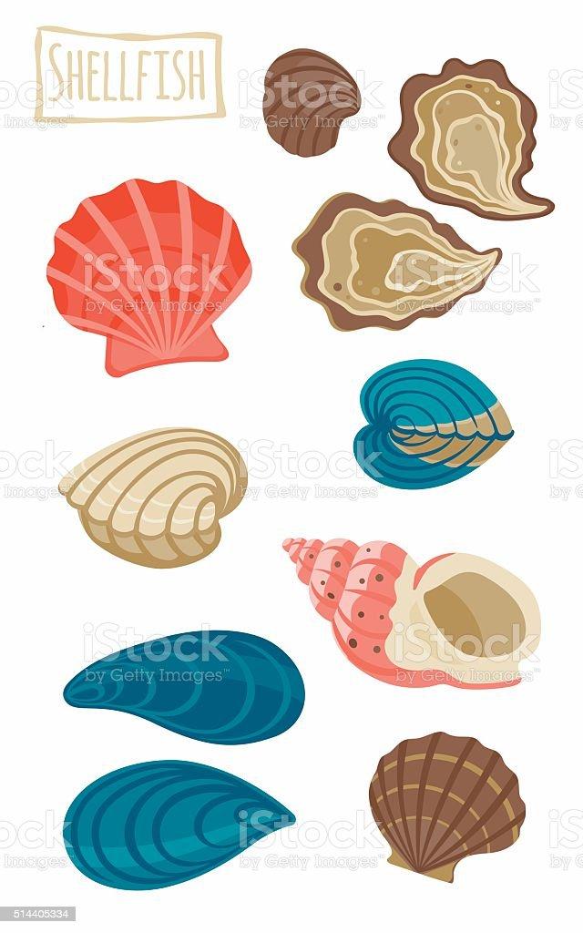 Shellfish vector art illustration
