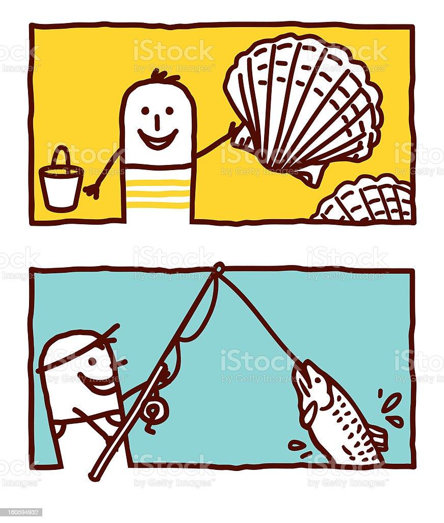shells picking & fishing vector art illustration