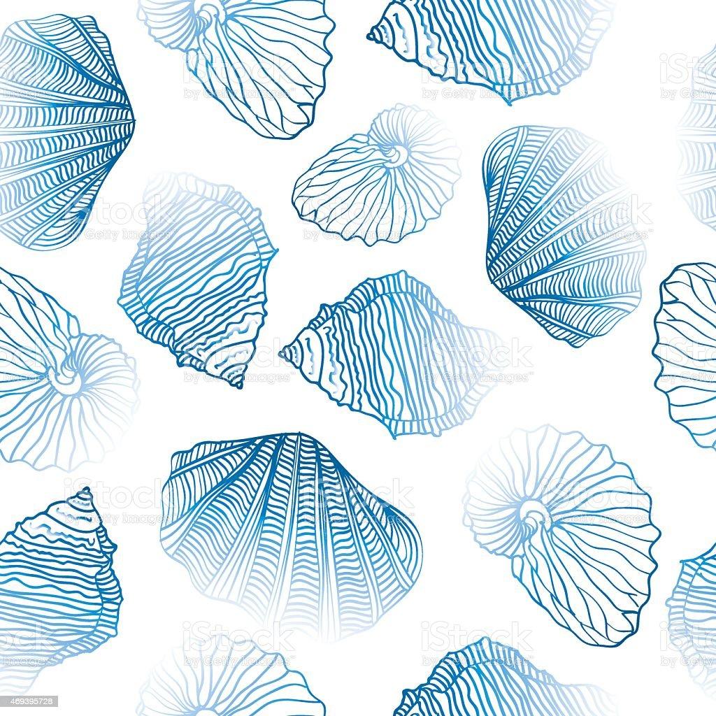 Shells Seamless vector pattern. vector art illustration