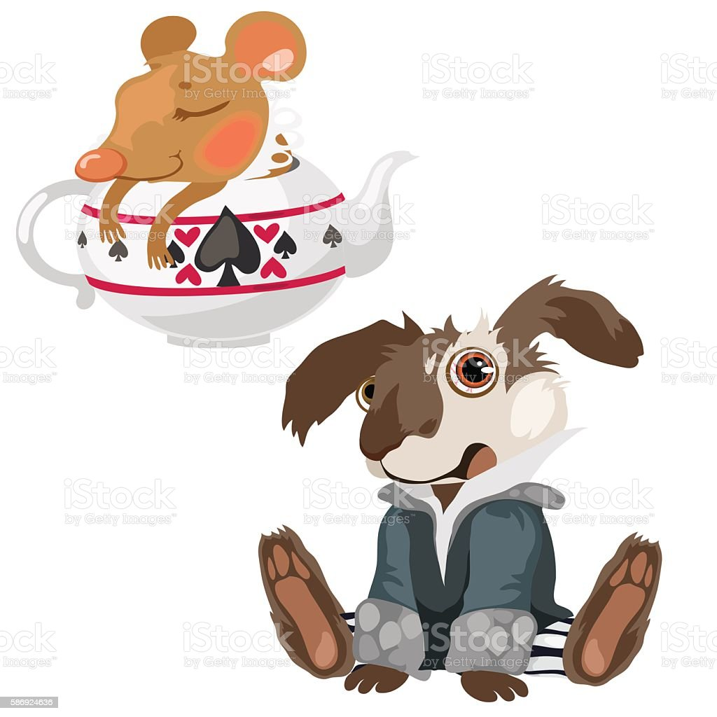 Shell-shocked dog and sleeping mouse in teapot vector art illustration