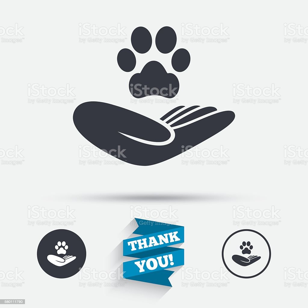 Shelter pets sign icon. Hand holds paw symbol. vector art illustration
