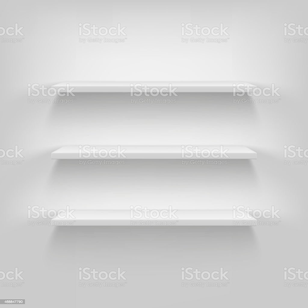 Shelves attached to the wall. vector art illustration