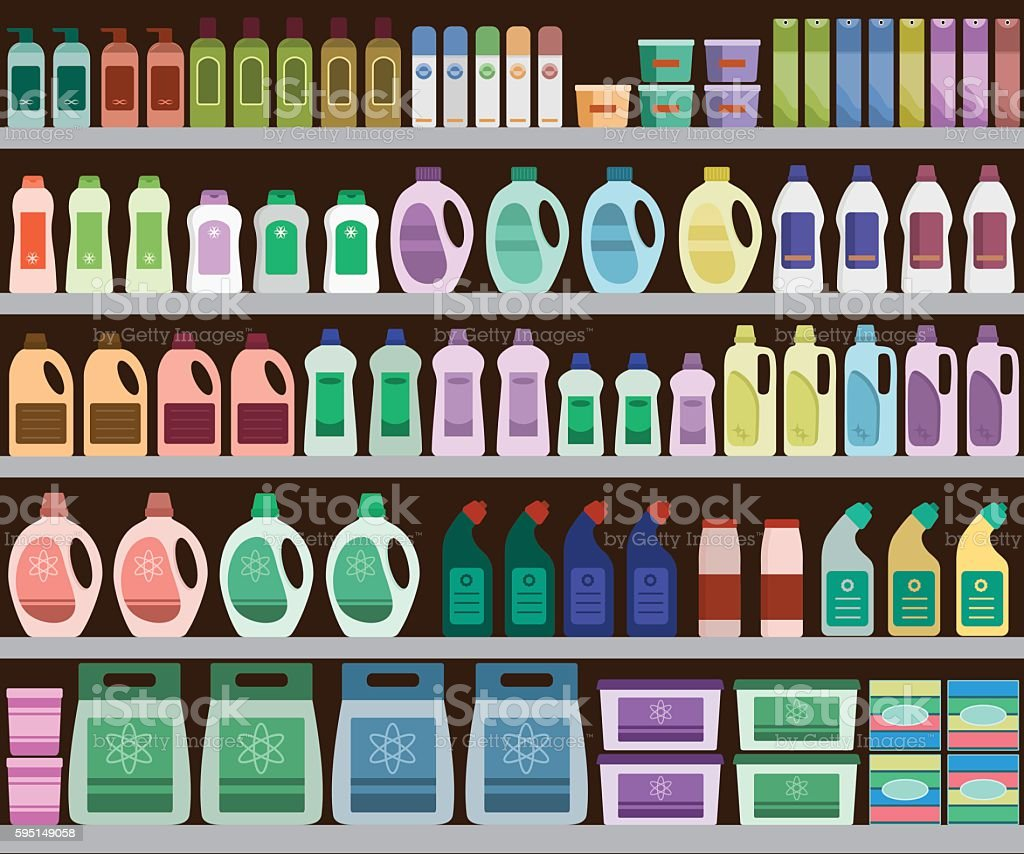 Shelves filled with cleaning products vector art illustration