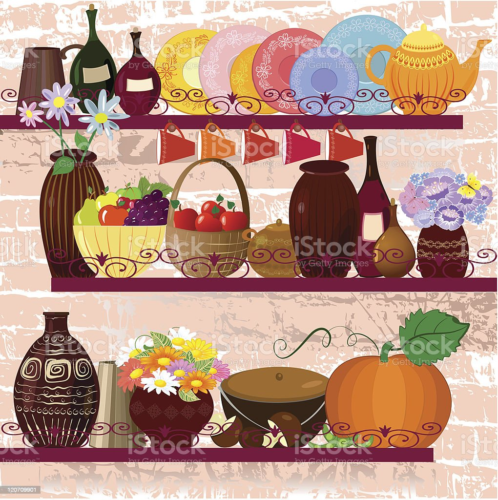 Shelves in the kitchen with utensils royalty-free stock vector art