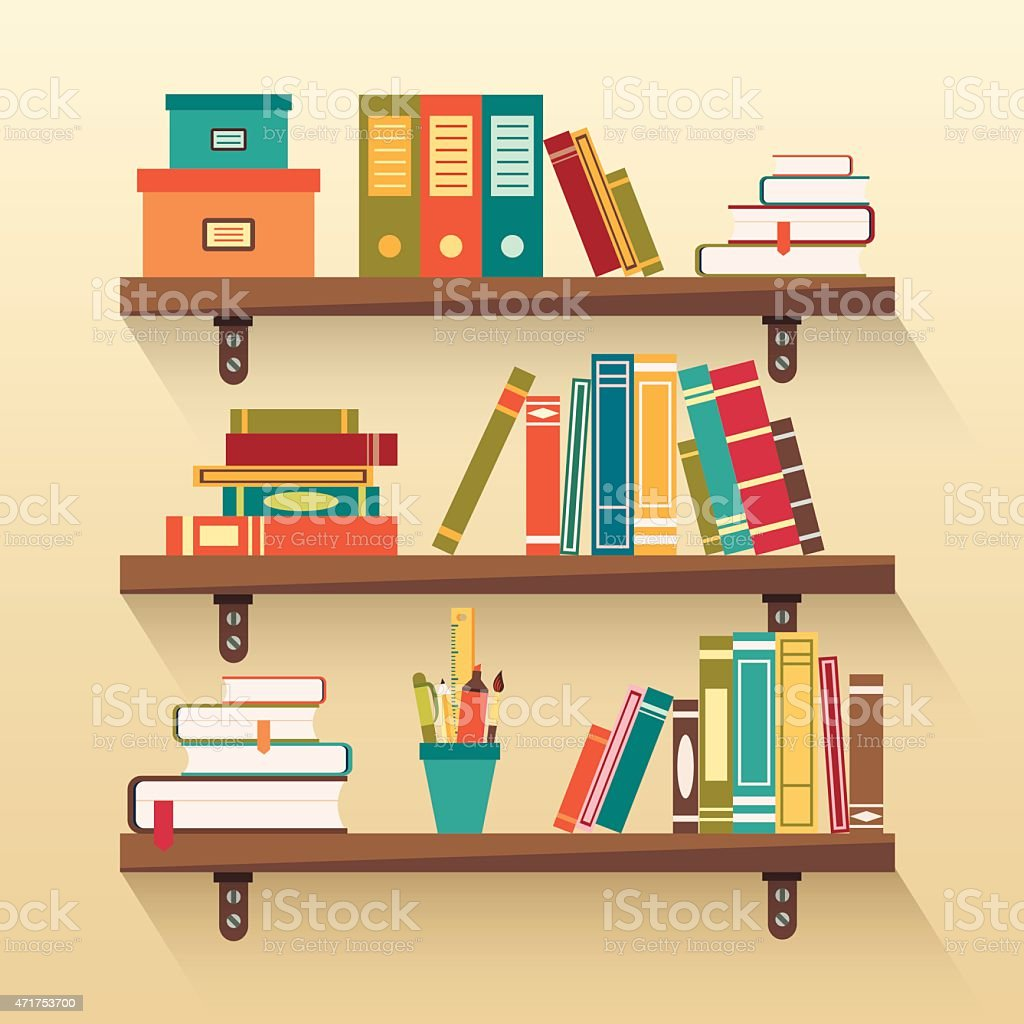 Shelves with colorful books vector art illustration