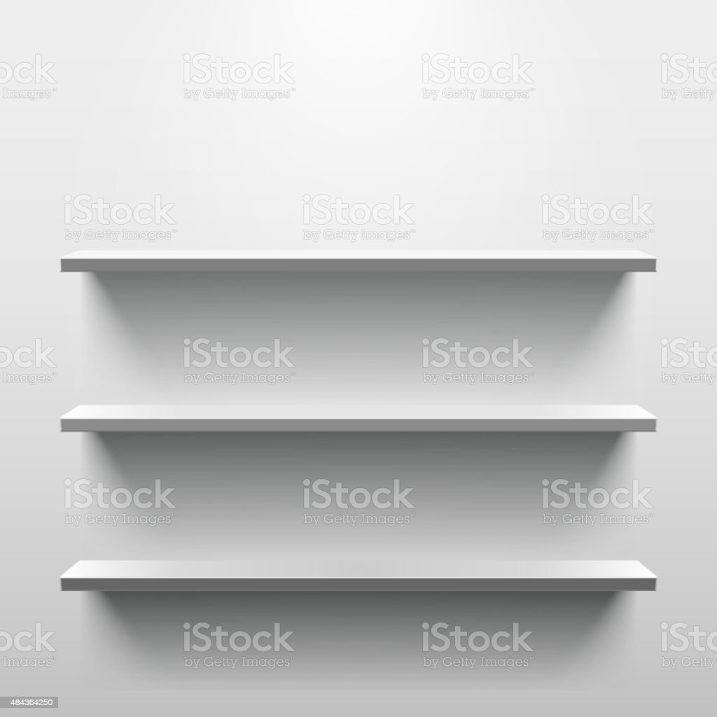 Shelves with shadow in empty white room vector art illustration