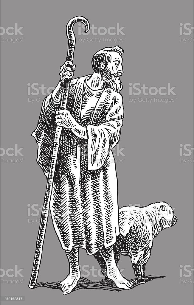 Shepard with Sheep royalty-free stock vector art