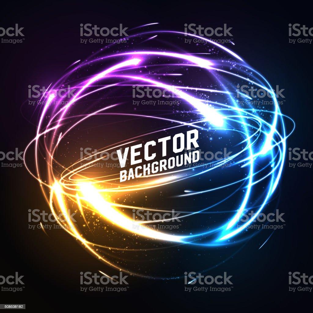 Shere of meteor-like shining neon lights in impact. Futuristic vector art illustration