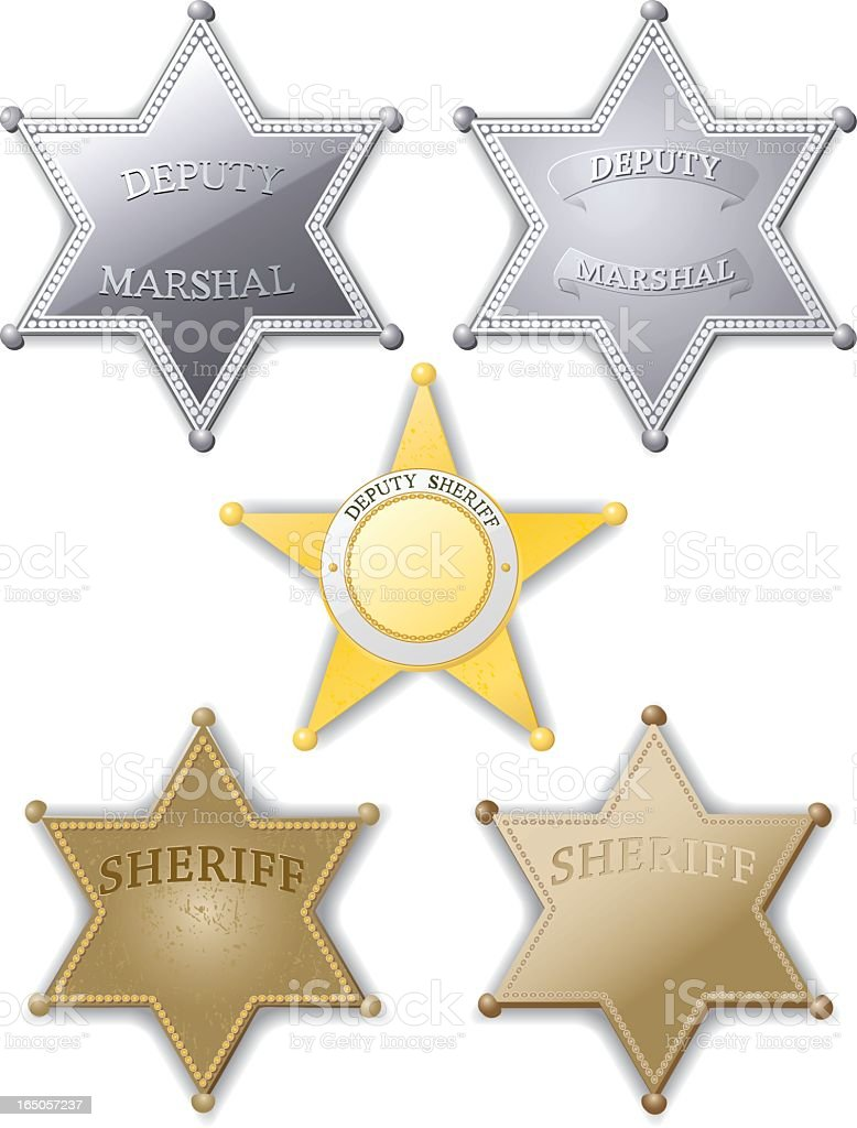 Sheriff and deputy Marshall badges in silver and gold color royalty-free stock vector art