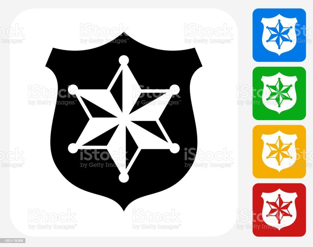 Sheriff Badge Icon Flat Graphic Design vector art illustration