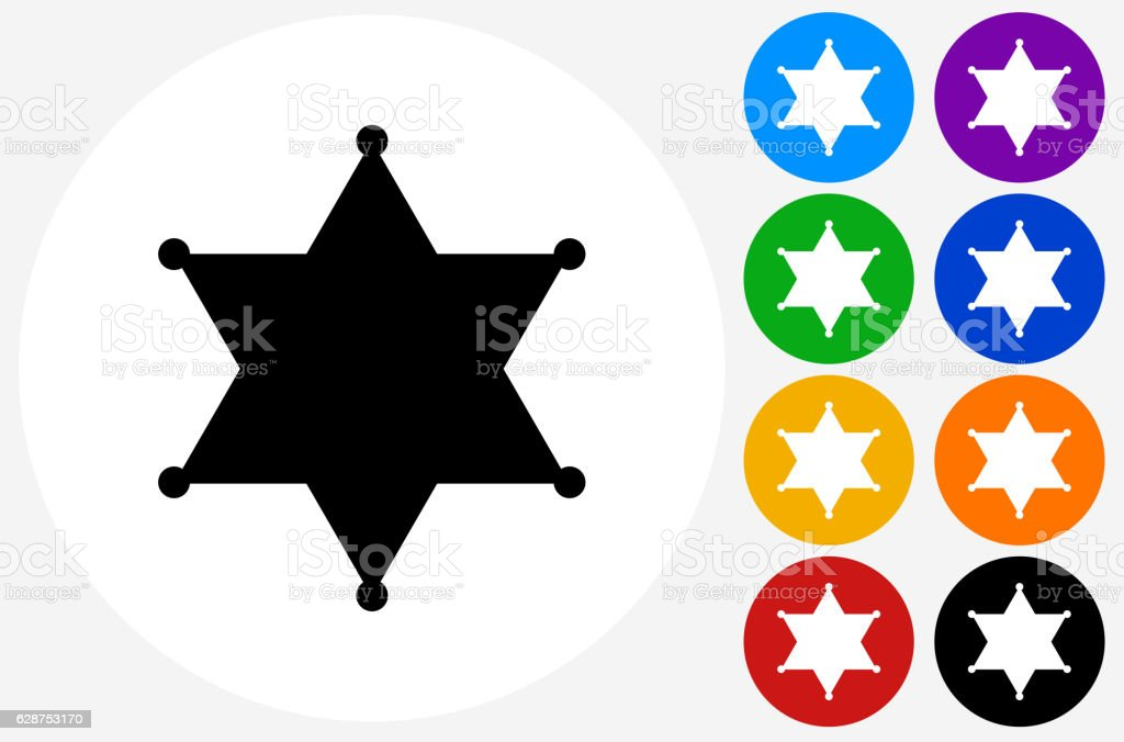 Sheriff Badge Icon on Flat Color Circle Buttons vector art illustration