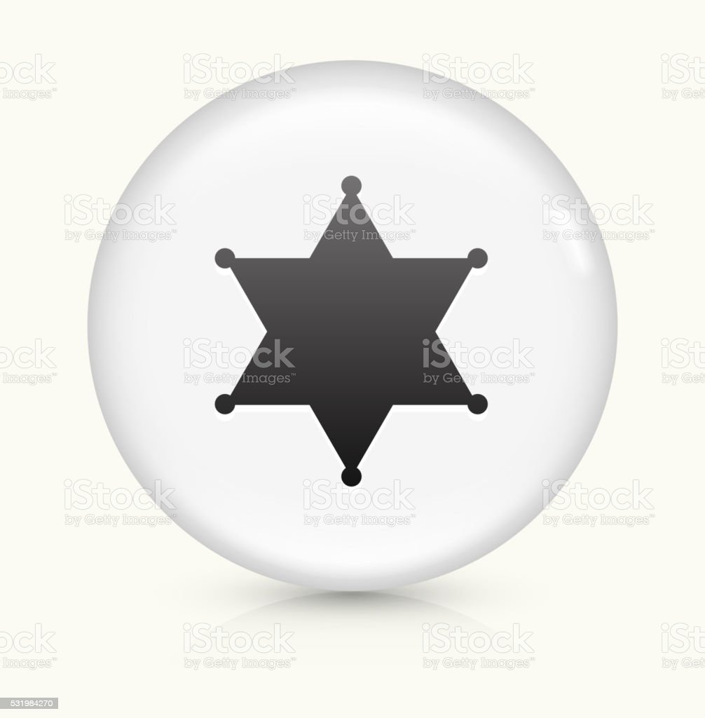 Sheriff Badge icon on white round vector button vector art illustration