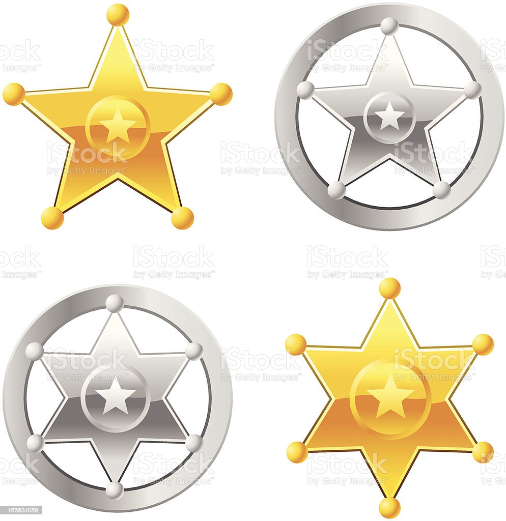 Sheriff Badges vector art illustration