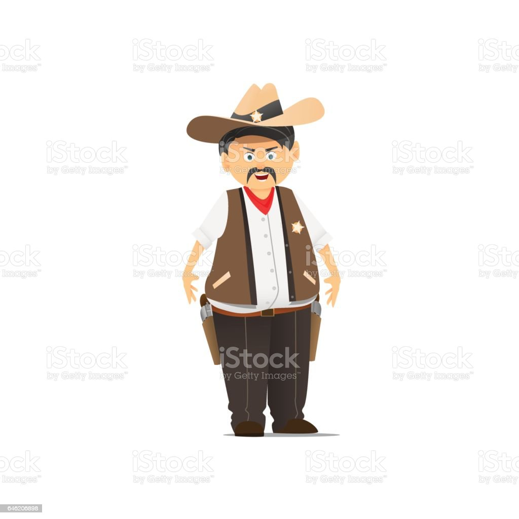 Sheriff in a hat vector art illustration