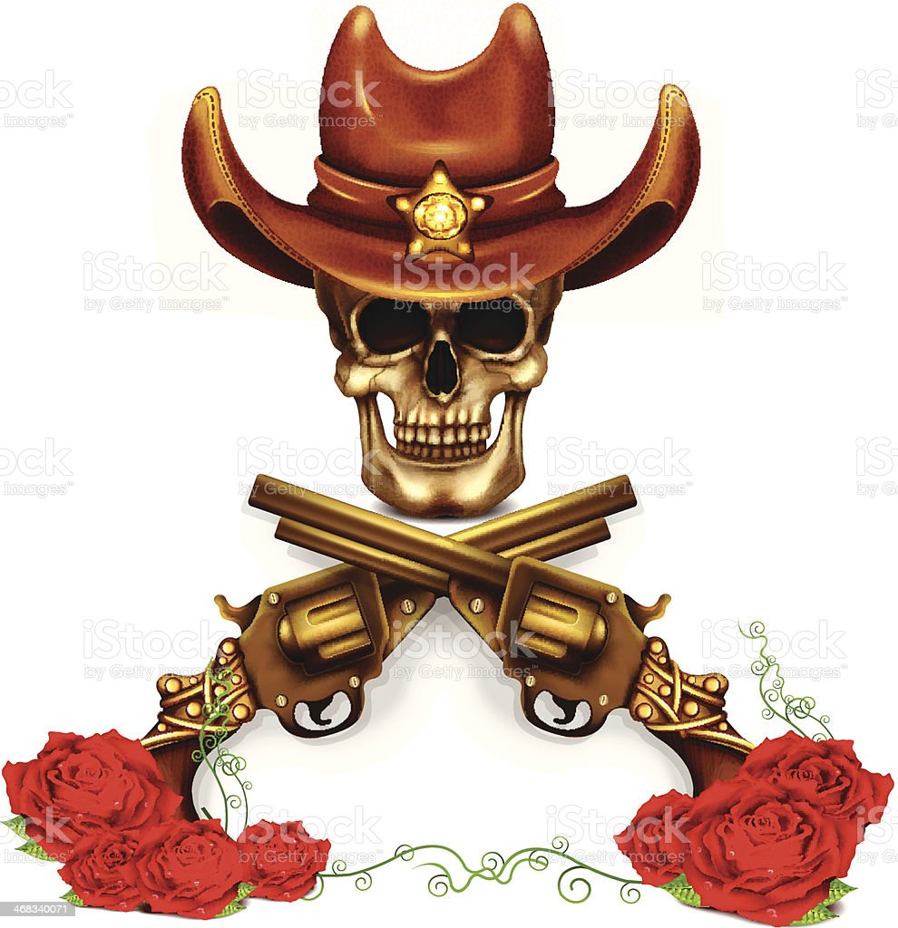 Sheriff Skull In Cowboy Hat And With Gun royalty-free stock vector art