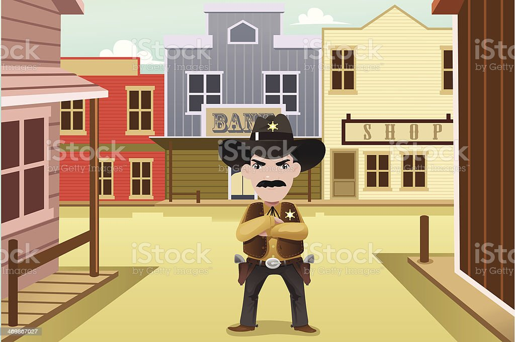 Sheriff standing on an old western town vector art illustration