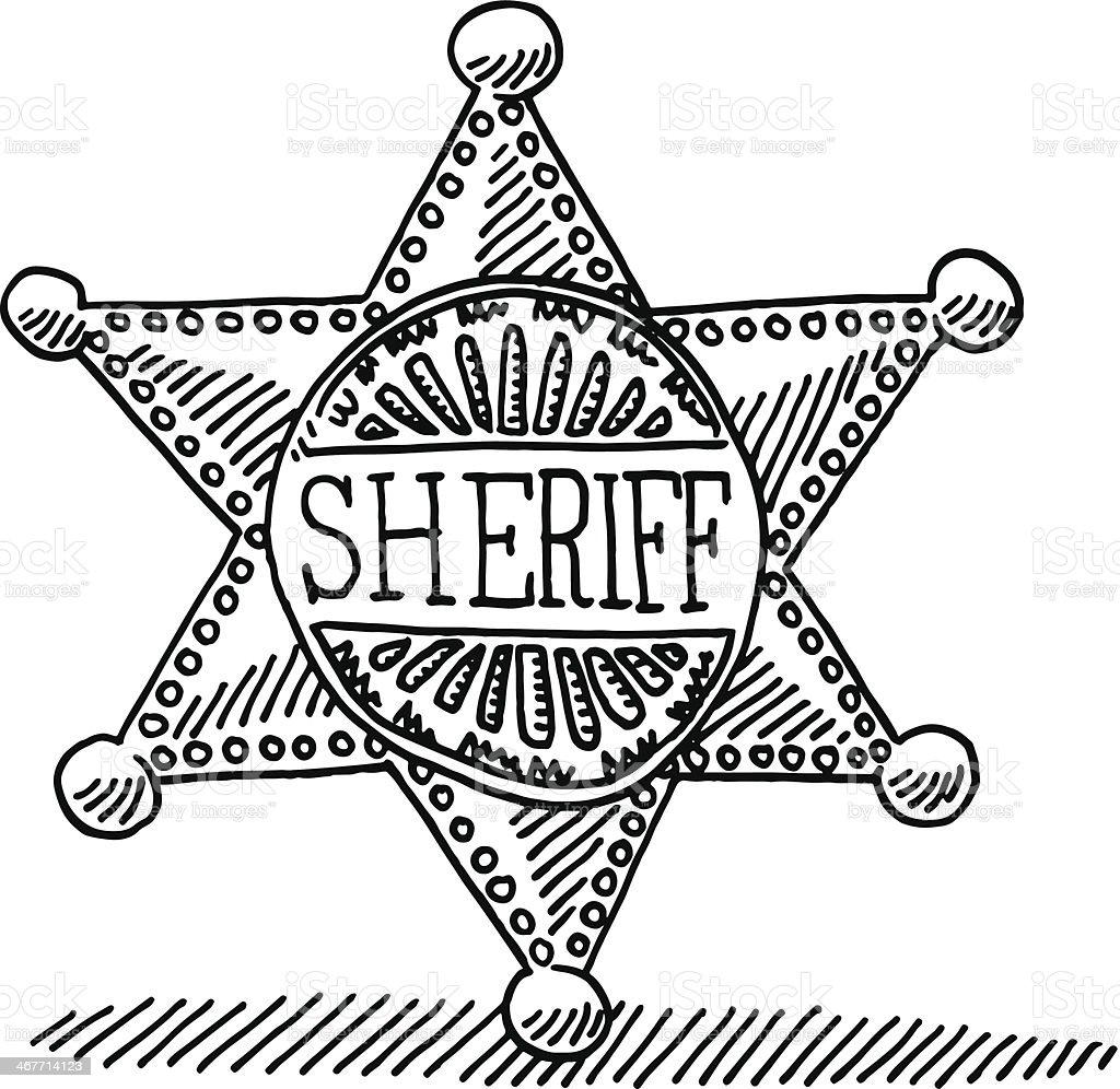 Sheriff Star Badge Drawing vector art illustration