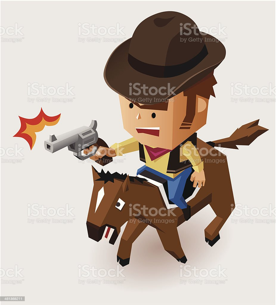 Sheriff with Revolver riding Horse royalty-free stock vector art