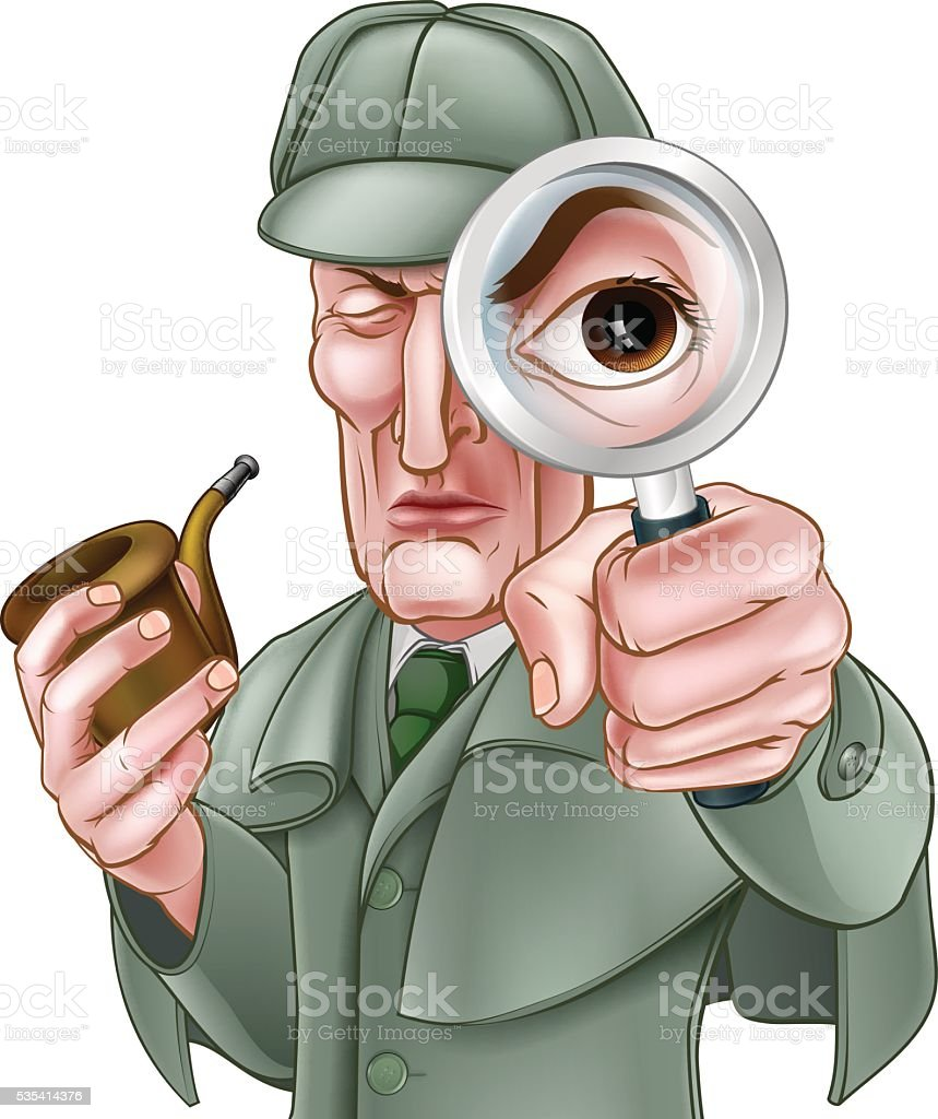 Sherlock Holmes Detective Cartoon vector art illustration