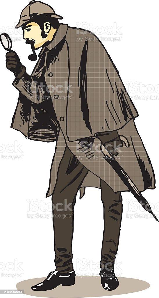 Sherlock Holmes Investigator vector art illustration