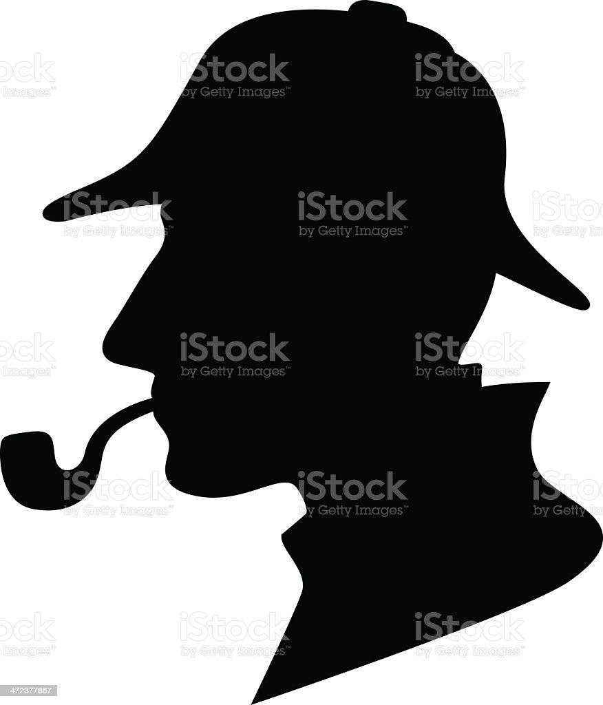 Sherlock Holmes Silhouette / Detective Symbol vector art illustration