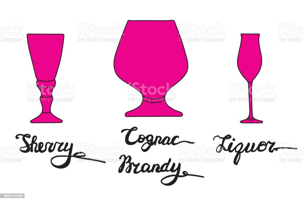 Sherry glass, Cognac glass, Brandy glass, Liquor glass. Various types of glasses with hand drawn inscriptions. vector art illustration