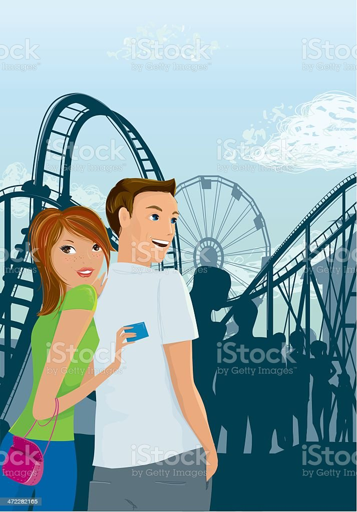 Shes got a ticket to ride vector art illustration